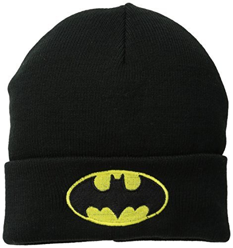 Batman Men's Cuffed Knit Beanie with Patch Logo at Gotham City Store