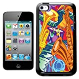 Fancy A Snuggle Colourful Music Montage Drum Keyboard Saxaphone Trumpet Design Hard Back Case Cover for Apple iPod Touch 4th Generation
