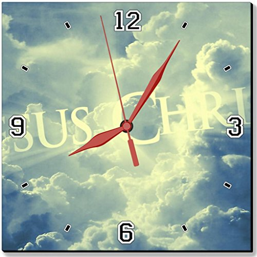 "Jesus Christ Widescreen Sky Blue Clouds Punktail'S Collections 10"" Quartz Plastic Wall Square Clock Customized Made To Order"