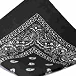 BLACK Bandana with WHITE square Paisl...