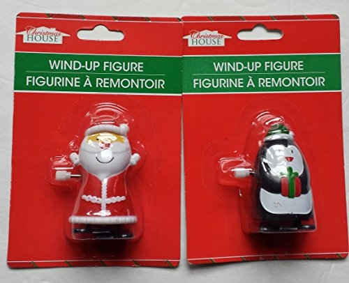 Adorable Wind up Santa and Penguin Christmas Character Toys(set of 2)