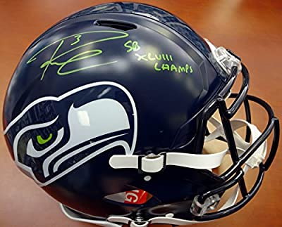 "Russell Wilson Autographed Seattle Seahawks Authentic Speed Full Size Helmet ""sb Xlviii Champs"" In Green Rw Holo Stock #87984"