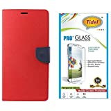 Tidel Premium Table Talk Fancy Diary Wallet Flip Cover Case For Samsung Galaxy J2 (Red) With Tidel 2.5D Tempered...