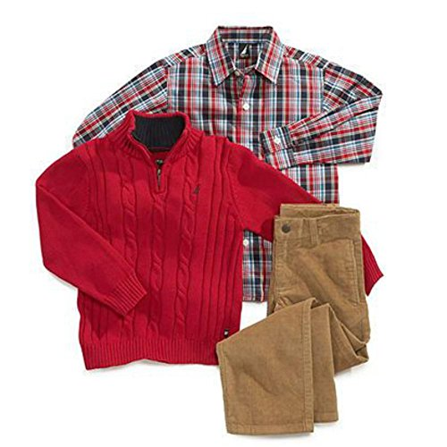 Nautica Infant Boys 3 Piece Dress Up Outfit Corduroy Pants Shirt & Red Sweater