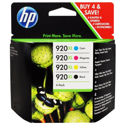 HP 920XL Four Pack Black & Colors Ink Cartridge Set -Black/Yellow/Cyan/Magenta