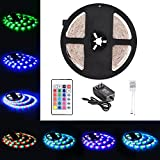 Litake 5M/16.4ft Flexible Strip Lights 300 LEDs SMD 3528 Light Strips RGB Color Changing Waterproof DC 12V Light Kit with 24 Key Remote Control Power Supply for Garden/Home/Kitchen/Car/Bar Decoration