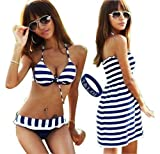 T&LOL 2013 Hot New Fashion SUPER QUALITY sexy women girls teens ladies Padded Bandeau Bikini 3pcs 3 Pieces Set Trikini Push up Swimming Swimsuit Swimwear underwear Bra top Bottom Beachwear Bathing Suit BLUE WHITE Striped Cover Up Dress