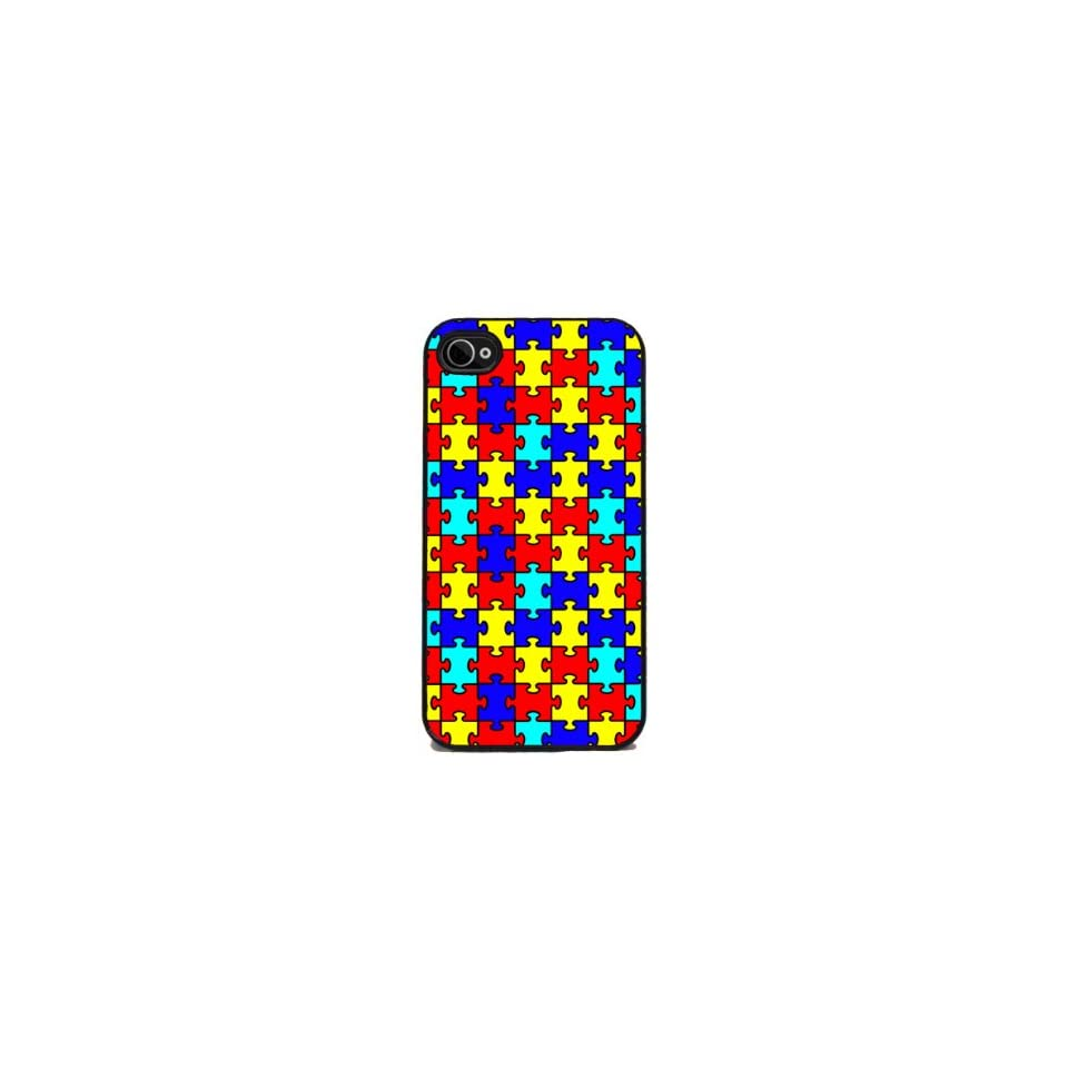 Autism Awareness Puzzle   iPhone 4 or 4s Cover, Cell Phone Case   Black
