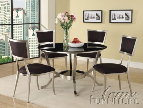 Buy low price 5pc abbott 8mm glass top dining table set for Best place to buy a kitchen table