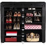 Songmics Armoire/étagères à chaussures 7 couches avec housse en toile avec zip couleur noir 115 x 110 x 28cm RXJ12H