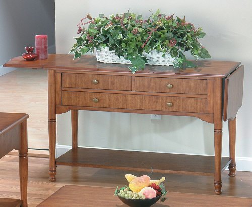 Buy Low Price Jofran Drop-leaf Sofa Table by Jofran – Saddle Brown Oak Finish (699-4) (699-4)