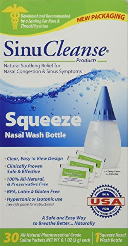 SinuCleanse Squeeze Nasal Wash Kit Plus All-Natural Saline Solution Packets, 30-Count Box
