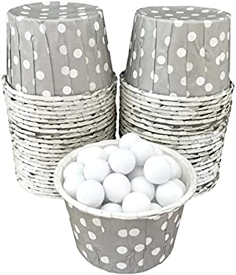 Silver and White polka dot Candy Nut Cups Mini Cupcake Ice Cream Cups Baby Shower, Birthday Party Supply 48 Ct. Outside the Box Papers