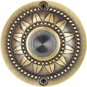 Waterwood WW018AB Solid Brass Pearl Bloom Doorbell, Antique Brass