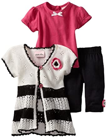 Little Lass Baby-Girls Infant 3 Piece Sweater Set with Stripe, White, 3-6 Months