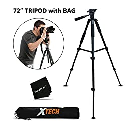 Durable Pro Grade 72 inch Full size Tripod with 3 way Pan-Head, Bubble level indicator, 3 Section Aluminum alloy lock in legs for Canon EOS Rebel T6i, T6S, T5i, T4i, T3i, T2i, 700D, 650D, 600D, 550D, EOS M EOS M2, EOS 7D 70D 60D 6D 5D, EOS Rebel SL1, Kiss