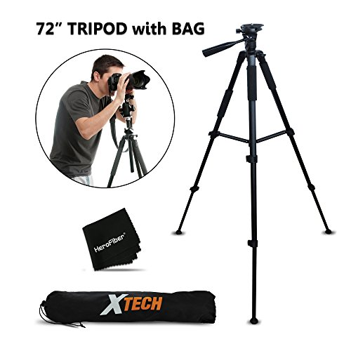 Durable Pro Grade 72 inch Full size Tripod with 3 way Pan-Head, Bubble level indicator, 3 Section Aluminum alloy lock in legs for Nikon D750 Nikon D5500, D5300, D5200, D5100, D3300, D3200, D3100, D7100, D7000, D750, D4, D4S, D3, D3S, D3X, D810, D800, D800e, D610, D600, 1 V1, D4, D4S, D3, D3S, D3X DSLR Cameras plus Convenient Backpack style Carrying Case (Nikon Camera Stand compare prices)