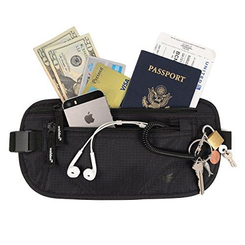 Cintura portasoldi e marsupio sottile (blocca RFID) per uomo & donna di Walden. Marsupio / portafogli da viaggio, da nascondere sotto i vestiti, con 3 tasche e cerniere resistenti.