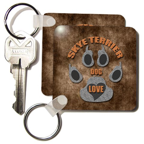 510i6JOhG L + Skye Terrier Dog Love Dog Breed in Gray and Brown   Set Of 2 Key Chains On Sale
