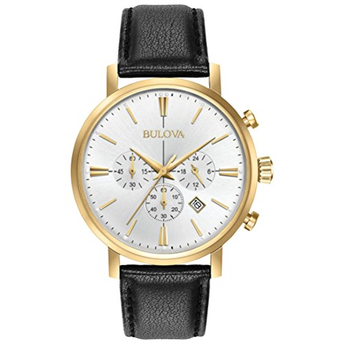 Bulova Aerojet Chrono Men's Quartz Watch with White Dial Chronograph Display and Black Leather Strap 97B155