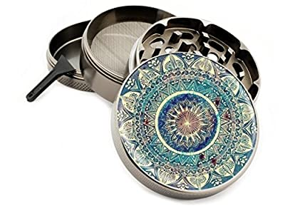 "Blue Mandala 4 Piece Zinc Titanium Metal Herb Grinder 2.5"" Vintage Grinders Diamond Grind Design Coloring Book"