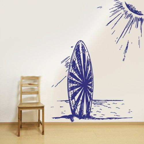 Wall Vinyl Sticker Decals Decor Art Bedroom Design Mural Ocean Sketch Beach Wind Sun Surf Board Wave Palm (Z2988) front-885046