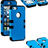 myLife Black and Electric Blue - Matte Color Series (Neo Hypergrip Flex Gel) 3 Piece Case for iPhone 5/5S (5G) 5th Generation Smartphone by Apple (External 2 Piece Fitted On Hard Rubberized Plates + Internal Soft Silicone Easy Grip Bumper Gel + Sealed Inside myLife Authorized Packaging)