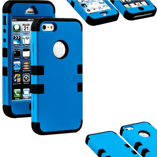 Mylife Black And Electric Blue - Matte Color Series (Neo Hypergrip Flex Gel) 3 Piece Case For Iphone 5/5S (5G) 5Th Generation Smartphone By Apple (External 2 Piece Fitted On Hard Rubberized Plates + Internal Soft Silicone Easy Grip Bumper Gel + Sealed Ins