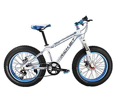 Richbit White Blue 20 in Shimano 7 Gears Fat Bicycles Flat Tire Curiser Beach Bike Mountain Bike for Kids,children, Women