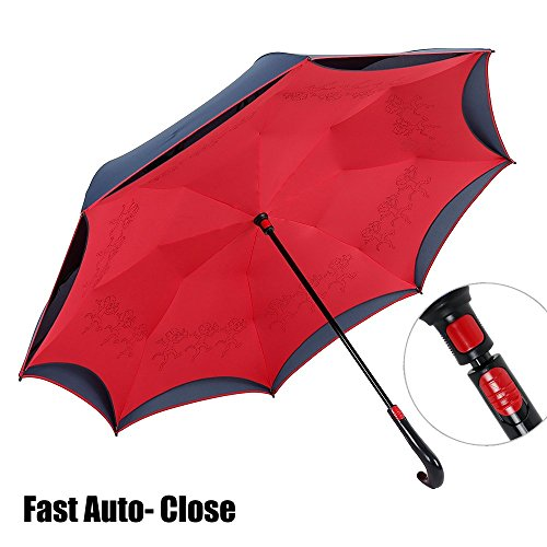 NEWBRELLAs Creative Upside Down Self-standing Auto-close Inverted Car Umbrella (Red)