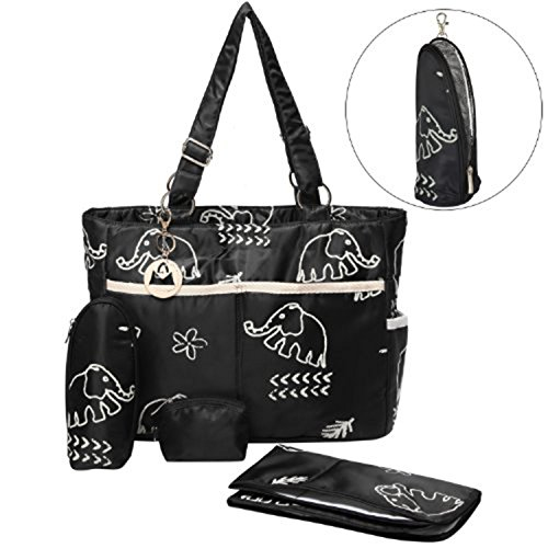 MyGift Elephant Design Baby Diaper Tote Bag 4-Piece Set with Changing Pad / Traveling Essential Shoulderbag - Black