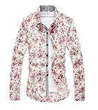 メンズ mens 細身 花 柄 シャツ 七分 丈 袖 爽やか でシルエット が美しい