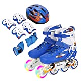 Dongchuan Light Up Front Wheels Roller Skates Switchable Rollerblades Elbow Pads/Knee Pads/Palm Pads Included Set Inline Skates