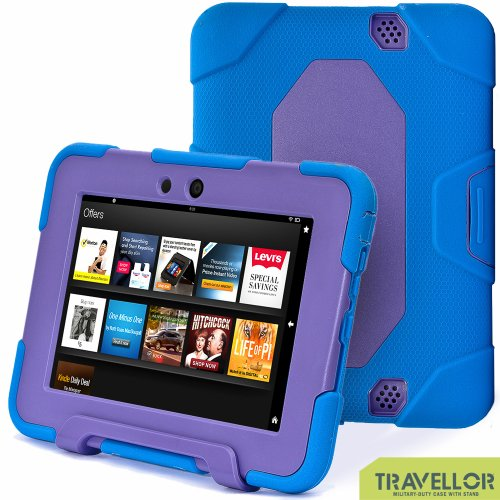"""New Hot Item High Quality Kindle Fire Hd 7""""Cover Case Slim Fit Silicone Plastic Dual Protective Back Cover Kid Proof Case Standing Case For Amazon Kindle Fire Hd 7 Inch(Will Only Fit Kindle Fire Hd 7""""Previous Generation)-Multiple Color Options (Blue/Purpl front-963547"""