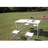 Campingtisch, Klapptisch, Grilltisch, Gartentisch (8812-F 120x60cm + 4 Hockern)