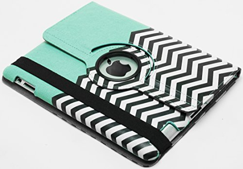 Ipad Case, Bastex Heavy Duty Hybrid Protective Kickstand Case - Teal Case With Black And White Chevron Design For Apple Ipad 2, 3, 4