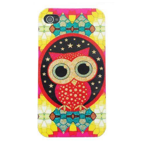 Meaci® Apple Iphone 4 4S Case Soft Smooth Tpu Material With Classic& Unique Owl Shimmering Bling Powder Pattern (Owl-X)