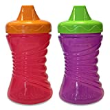 Gerber Graduates Fun Grips Hard Spout Sippy Cup in Assorted Girl Colors, 10-Ounce, 2 count (Color: Girl, Tamaño: 10 Ounce)