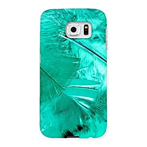 Cyan Feather Back Case Cover for Samsung Galaxy S6
