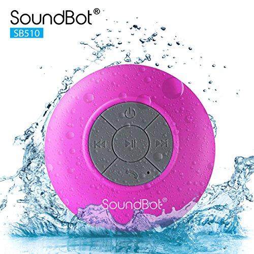 SoundBot SB510 HD Water Proof Bluetooth 3.0 Speaker, Mini Water Resistant Wireless Shower Speaker, Handsfree Portable Speakerphone with Built-in Mic (Sound Shower compare prices)