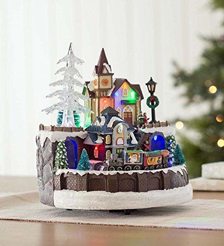 Lighted Train Village Christmas Music Box