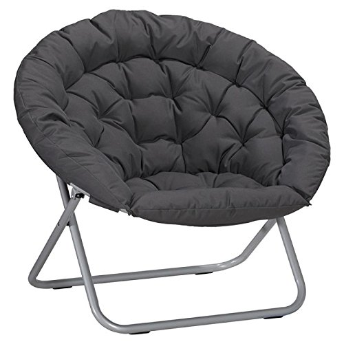 Oversized Folding Moon Chair Multiple Colors Round Black