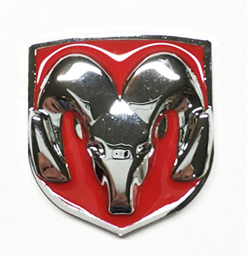 Red & Chrome Head Emblem Replace OEM Mopar Dodge Ram 1500 2500 3500 Charger (Dodge Ram 2500 Grill Emblem compare prices)