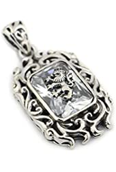 925 Sterling Silver Lion on White Cz Stone Mens Biker Pendant 9r019 Jp