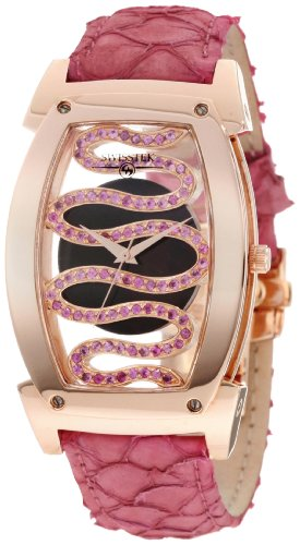 Swisstek SK81902L Limited Edition Swiss Rose-Gold-Plated Watch With Pink Sapphires, Aquatic Leather Strap, Sapphire Crystal And Sapphire Exhibition Caseback