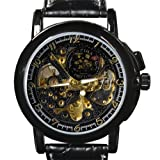 Orkina Mens Black Hollow Mechanical Dial Leather Strap Wrist Watch MG015LBB