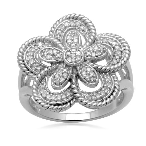 Jewelili Sterling Silver Diamond Flower Ring (1/5 Cttw, IJ Colour, I2/I3 Clarity), Size 7