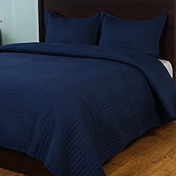Raintree 3-Piece Lightweight & Breathable Super Soft Bedding Coverlet Set - Great Quality Hypoallergenic Microfiber Bedspread Cover Set, Navy, King