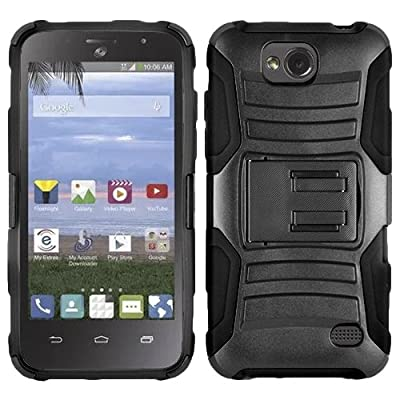 Straight Talk Prepaid ZTE Atrium Z793C / Scend LTE Z791G case, Heavy Duty Dual Layer Black Combo Holster Belt Clip with Kickstand from HR Wireless