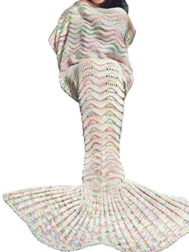 YiZYiF Handgemachte Meerjungfrau Decke Fleece Sofadecke Schlafsack Mermaid Blanket Kostüm für Kinder Mädchen (Einheitsgröße, Gestrickt Grau-Weiß (Damen)) thumbnail